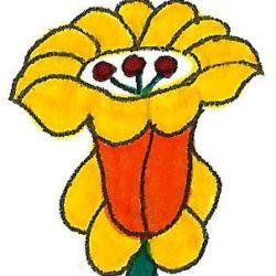 sárga virág a kalocsai színezőből